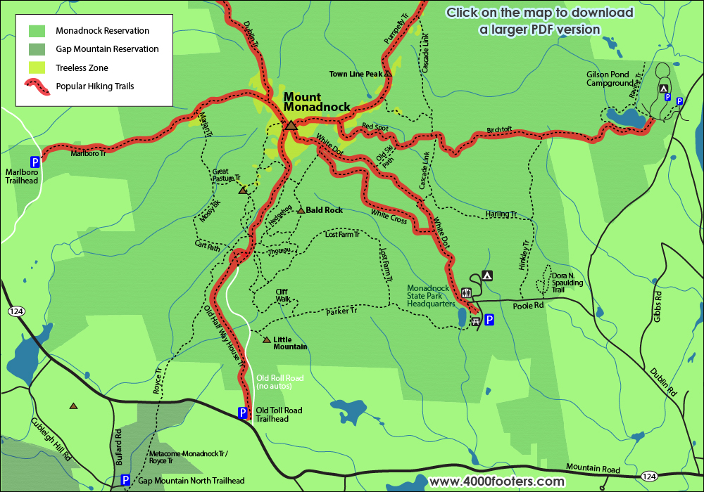 Mount Monadnock Hiking Trail Map