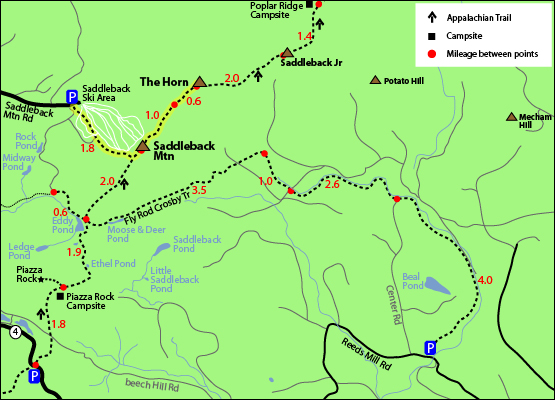 hiking trail map saddleback and the horn maine new england 4000 footers appalachian trail ski area poplar ridge rock, piazza rock campsite saddleback mountain road route 4
