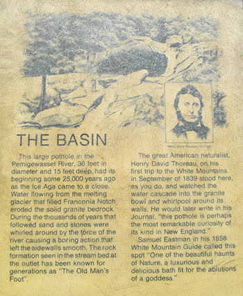 The Basin at Franconia Notch State Park New Hampshire NH Sign Old Man of the Mountains Foot Print