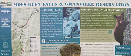 moss glen falls and granville reservation sign vermont waterfalls