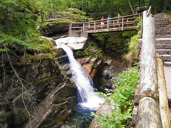 Sabbaday Falls Bridge, Sabbaday Waterfall, White Mountains, Waterville Valley, NH, New Hampshire