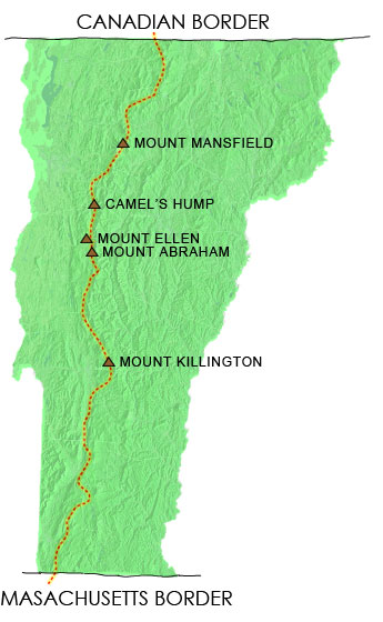 vermont long trail map, vt long trail map, long trail mansfield, camels hump, ellen, abraham, killington
