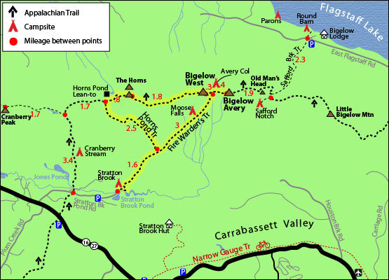 Hike Bigelow Mountain West Peak New England Footers Maine - Mt katahdin trail map