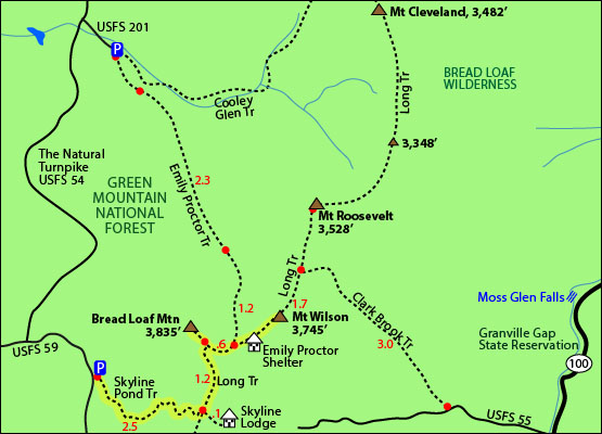 Hike Bread Loaf Mountain Vermont VT New England Hundred Highest - Appalachian trail shelters map