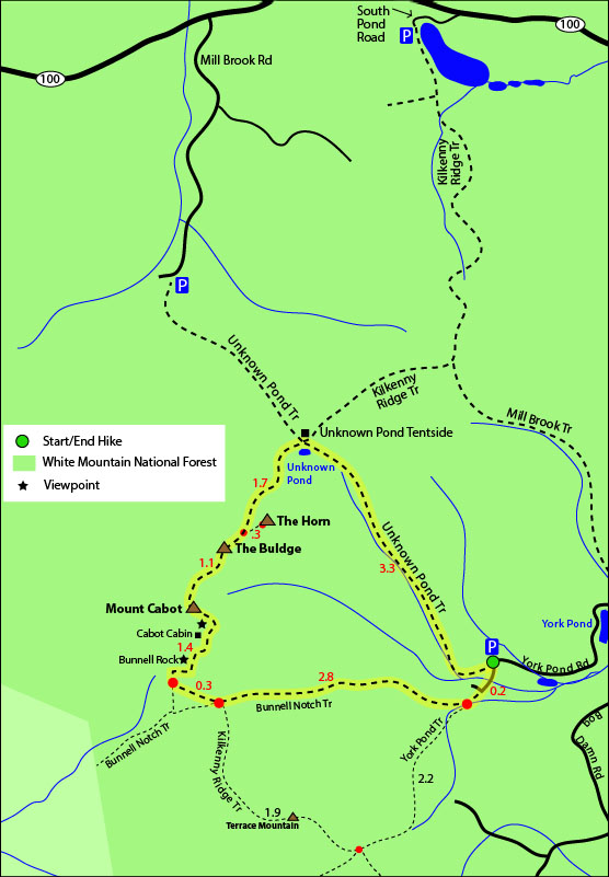 Map Of New England 4000 Footers.Mount Cabot Mt Cabot 4 170 4170 Feet Berlin Nh New Hampshire Coos