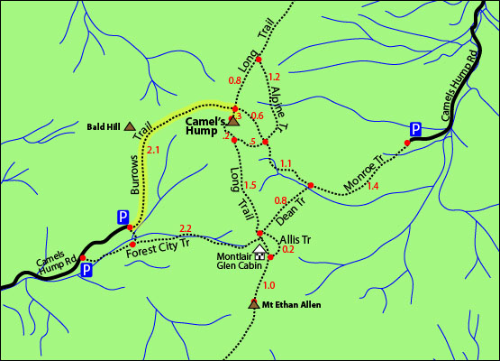 camels hump trail map, camels hump hike, camels hump burrows trail map, camels hump 4000 footers vermont, forest city trail, alpine trail, camels hump crash site, camels hump plane crash, monroe trail, long trail, camels hump road map