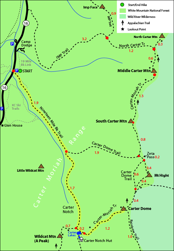 Carter Dome Map, Carter Dome Mountain, Carter Moriah Trail, Nineteen Mile Brook Trail, Carter Dome Trail, Appalachian Trail, Mt Carter Dome, Carter Dome trail maps 4000 footers nh