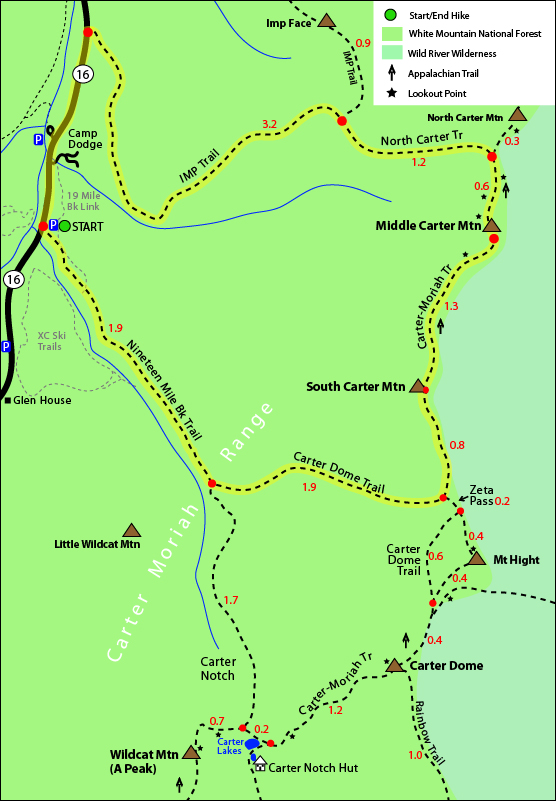 South Carter, Middle Carter, Carter Dome trail map. Carter Dome Trail, Carter-Moriah Trail, Nineteen Mile Brook Trail, IMP Trail, Route 16 Pinkham Notch, Appalachian Trail map, North Carter Trail, Carter Moriah Range