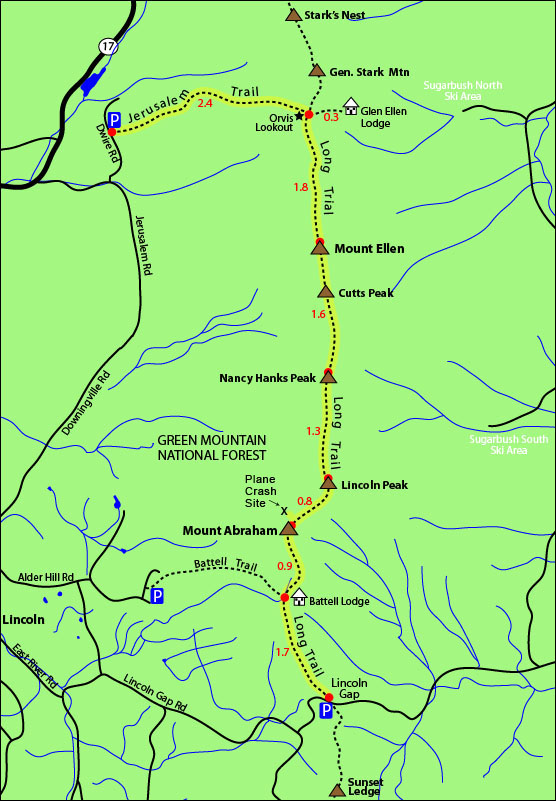 Mount Ellen Mount Abraham hike map long trail, jerusalem trail, orvis outlook, lincoln gap, mount ellen trail map, mount abraham trail map