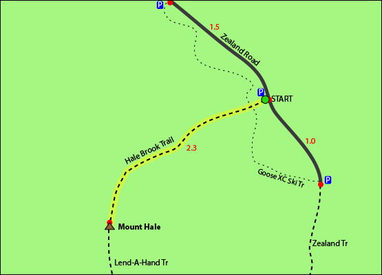 Mount Hale Map, Hale Brook Trail Map, Trail Guide, Trail Map, Zealand Road, Bethlehem, NH Hale Brook Trail Zealand Road Twin Range