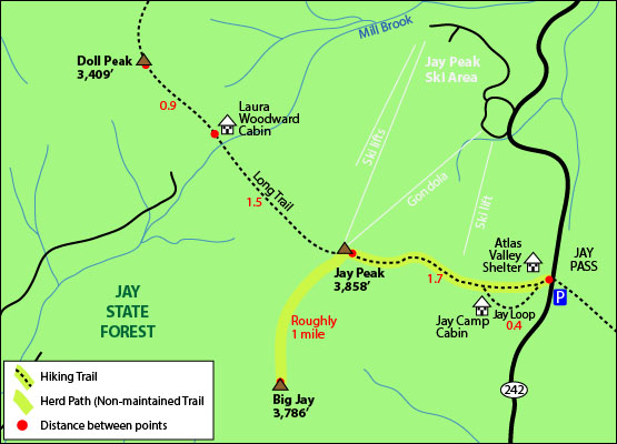 hiking trail map jay peak vermont big jay mountain hike long trail jay camp 242 jay state forest atlas valley shelter jay pass peak bag jay peak big jay