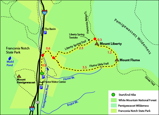 Mount Liberty Loop Hike Map 4000 Footers Flume Slide Trail Liberty Spring Trail