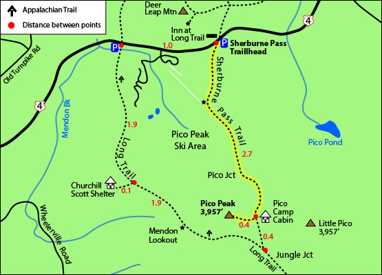 hiking trail map pico peak mountain vermont vt sherburne pass trail long trail appalachian trail pico camp inn at long trail route 4 pico peak ski area resort mendon killington