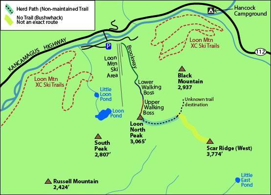 Skiing New England Map.Hike Bushwhack To Scar Ridge West Peak Nh
