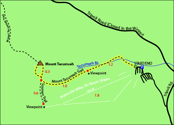 Mount Tecumseh Map - Mount Tecumseh Trail, Sosman Trail, Waterville Valley Ski Resort Area Slopes, Tripoli Road, Route 49, Waterville Valley, NH, New Hampshire, White Mountains