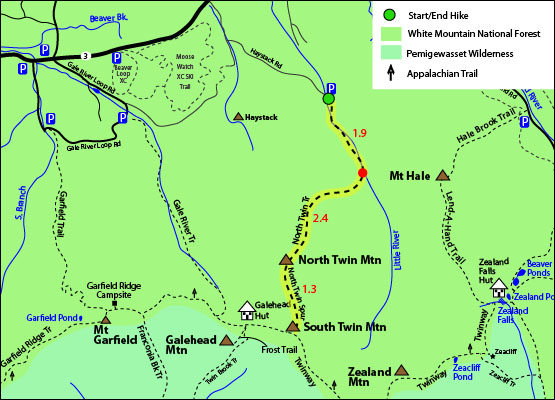 North Twin Mountain map, North Twin Trail, North Twin Spur, South Twin Mountain map, Galehead hut, Haystack Road Bethlehem, NH White Mountains 4000 footers map