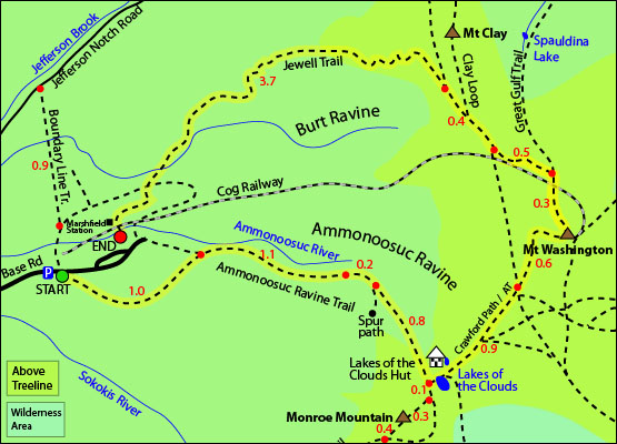 Mount Washington map, ammonoosuc ravine trail, mt washington, cog railway, jewell trail,