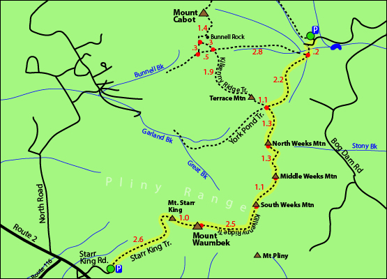 Map Of New England 4000 Footers.Hike North Weeks Mountain New England Hundred Highest 100 3 901