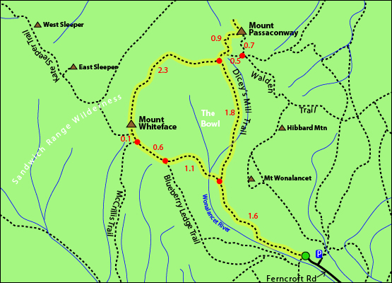Mount Passaconway, Mount Whiteface - Blueberry Ledge Trail, Diceys Milk Trail, Ferncroft Road, Wonalancet, NH 4000 Footers