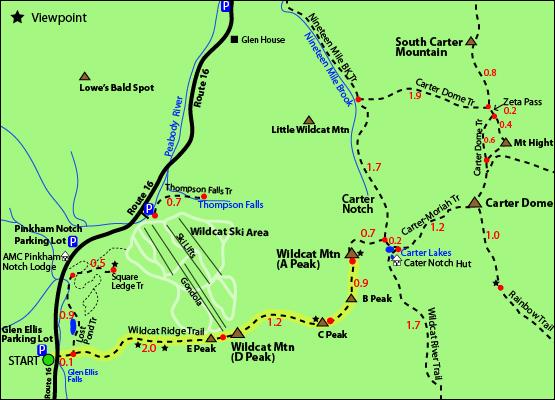 Wildcat Mountain Peak A Map Ridge Trail B