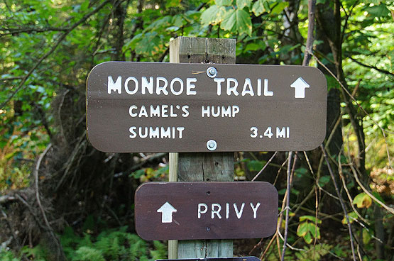 monroe trail camels hump summit trail sign vermont vt