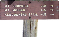 mount moriah sign - mt moriah, mount surprise trail sign, kenduskeag trail sign