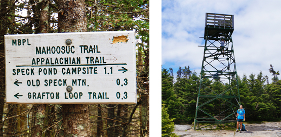 old speck summit tower photo mountain grafton loop trail sign speck pond campsite mahoosuc trail appalachian trail