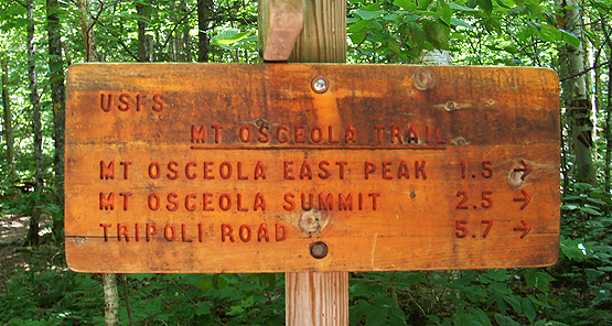 mount osceola east trail sign hiking 4000 footers nh