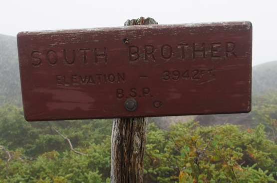 south brother summit sign maine